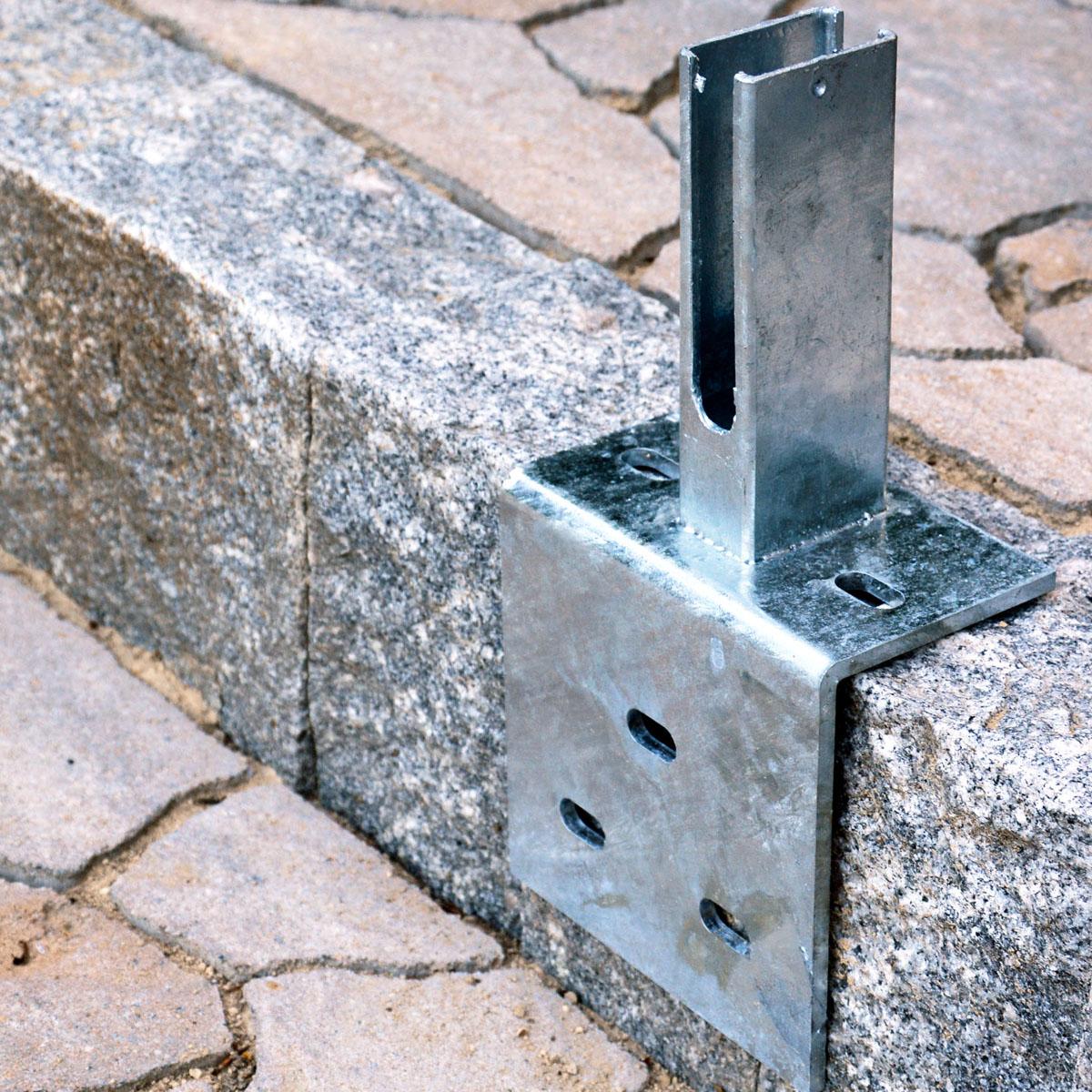 Winkel Bodenplatte Fußplatte Adapter Doppelstabmattenzaun f Pfosten 40x60 Zaun