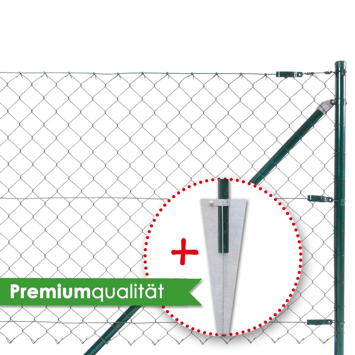 Maschendrahtzaunset 25m H= 125 cm Zaun inkl.Einschlaghülsen Gartenzaun Drahtzaun