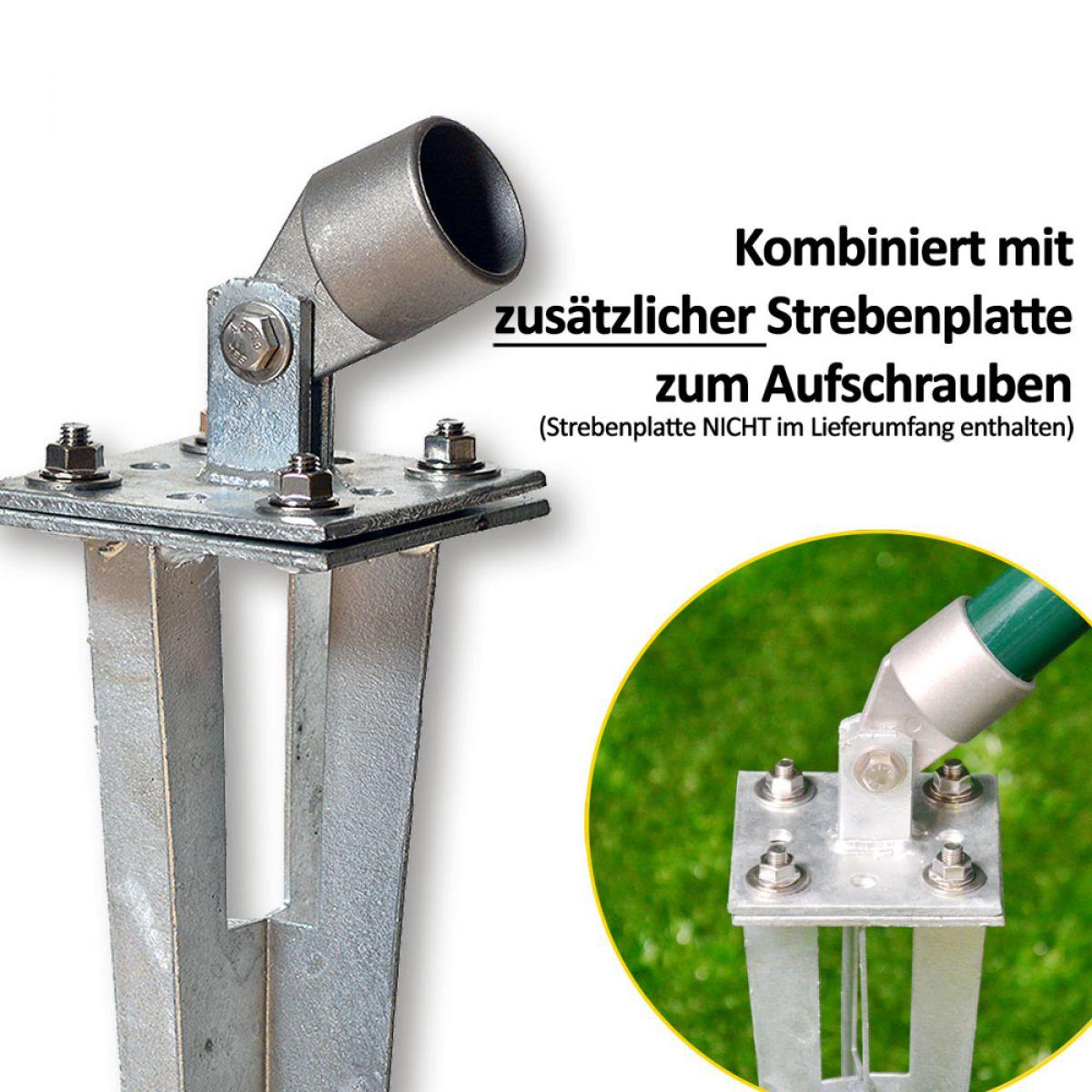 10 Stk Bodenhülse Einschlaghülse Pfostenträger Ø 34 mm für Maschendrahtzaun